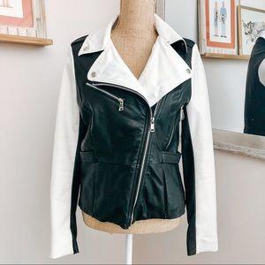 Bebe White & Black Faux Leather Moto Jacket